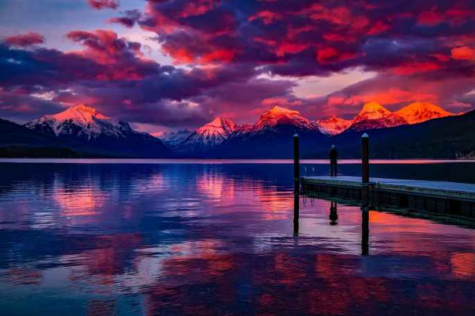 clouds, sunset, lake, mountains,