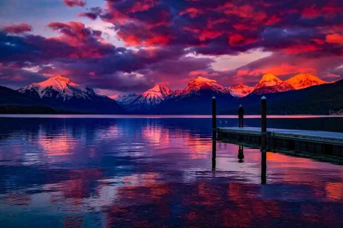 clouds, sunset, lake, mountains,